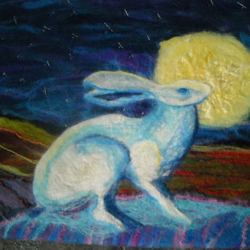 original felt wall art,hare and moon, hand embroidery, Bathed in moonlight