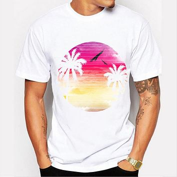 Summer Casual Coconut prints Design T Shirt Men's Printed Tops Hipster Top  Tees