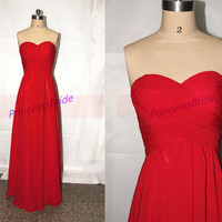 2014 red chiffon long bridesmaid dresses,elegant sweetheart floor length prom dress,simple inexpensive gowns for evening.