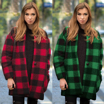 Scoop Long Sleeves Thick Plus Size Wool Coat