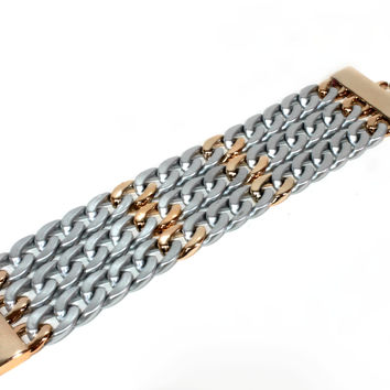 """Champion Of Chains"" Matte Silver And Gold Link Bracelet"