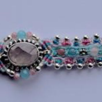 Isha Elafi Genie Bracelet Blue & Pink with Rose Quarts Stone