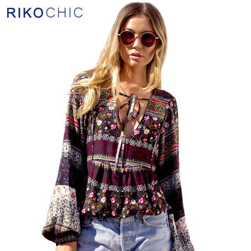 Tropical Floral Print Striped Ethnic Boho Blouse Women Tops Beachwear Deep V neck Plus size Long Sleeve Tops Ladies Shirts C205
