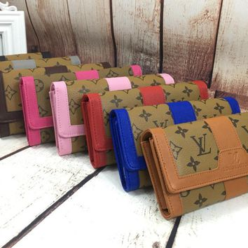 """Louis Vuitton"" Women Fashion Multicolor Print Long Section Purse Button Flip Wallet"