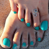 Retro Silver Plated Nice Toe Ring Foot Beach Rings 2 Pcs
