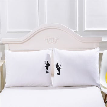Mickey mouse Shadow Pillow Case Plain Printed White Body Pillowcase Cover Valentine's Day Gift a Pair 50cmx75cm 50cmx90cm Size