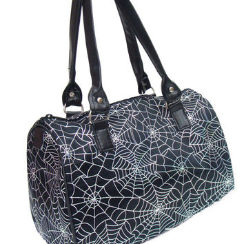 USA HAMDADE Handbag Doctor bag Satchel Style Spider Web Halloween Gothic Pattern Bag Purse, new