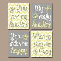You Are My SUNSHINE Wall Art, Sunshine Chevron CANVAS or Prints Nursery Rhyme, Girl Quote Art, Baby Song Decor  Set of 4 Girl Bedroom Decor