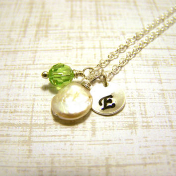 Dainty Freshwater Coin Pearl Hand Stamped Initial Swarovski Crystal Birthstone Sterling Silver Necklace / Gift for Her
