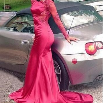 [116.99] Alluring Stretch Satin Bateau Neckline Mermaid Evening Dresses With Beaded Lace Appliques - dressilyme.com