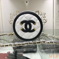 HCXX 19Aug 715 Fashion Topstitche Pattern Chain Minaudiere Clutch Bag C Logo Canteen Bag 15-15-7cm
