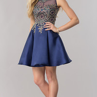 Embellished Lace Appliqued Short Homecoming Dress