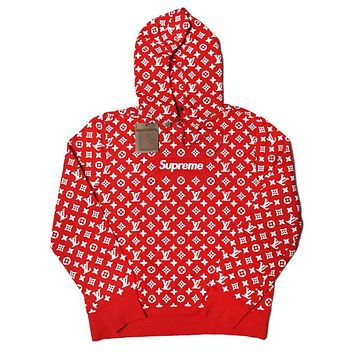 Supreme x LV Louis Vuitton Hooded Women Men Fashion Pullover Hoodie Top Sweater