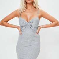 Missguided - Grey Knot Front Bodycon Mini Dress