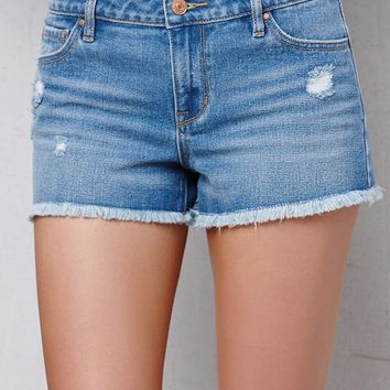 PacSun Shortie Blue Ripped Low Rise Cutoff Denim Shorts at PacSun.com