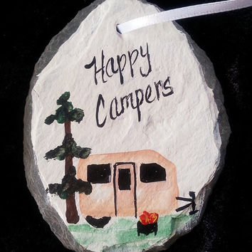 Christmas tree ornament, camping, happy camper