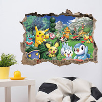 Cartoon Pikachu Pokemon Go Wall Stickers For Kids Rooms Wall Decals Poster Room Decoration Poster Nursery Kids Room Decals SM6