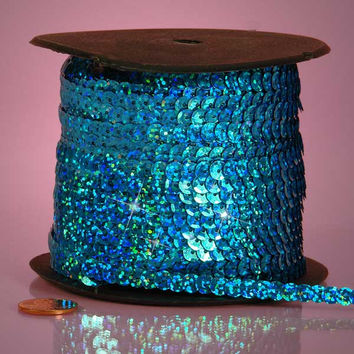 Turquoise Aqua Holographic Faceted Extra Sparkle String 6mm x 80 yards Sequins