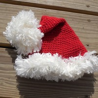 Santa Stocking Hat, Crochet Christmas Hat with Fur Brim and Pom Pom