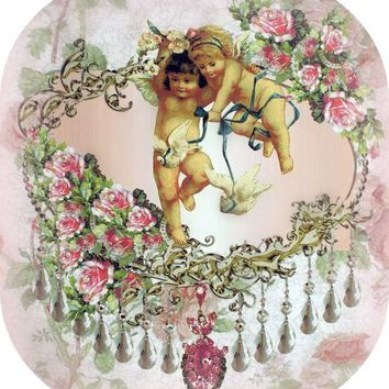 Crystal Roses Twin Cherubs and Dove Wall Hanging