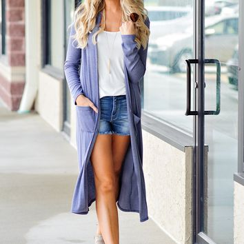 * The Other Place Long Duster : Heathered Navy