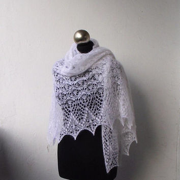 White knit lace shawl, hand knitted lace shawl , bridal shawl, knit wedding shawl, white kid mohair and silk  shawl,bridal cover up