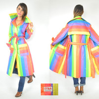 sleek belted RAINBOW mod retro STRIPED wrap TRENCH raincoat, medium-large