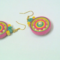 Paper Earring - Quilled Earring Disc - Multi colour