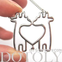 Double Giraffe Outline Heart Shaped Animal Pendant Necklace in Silver