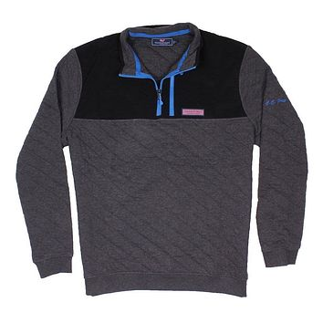 Custom Quilted 1/4 Zip Shep Shirt in Charcoal Heather by Vineyard Vines