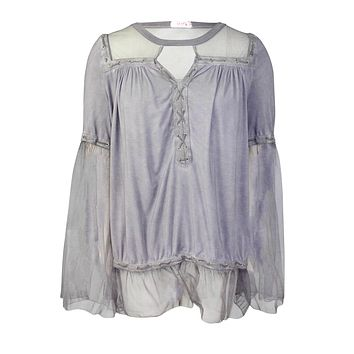 Lace Up Tulle Blouse