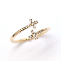Tiny Sideways Cross with CZ crystals Ring in Gold- adjustable ring