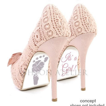 Custom hand painted Birth, Baby, Twin or Triplet Announcement heels