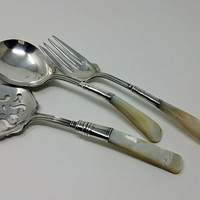Antique Mother of Pearl Sterling Handle Servers Three Piece Victorian Serving Set