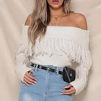 Off Shoulder Tassel Short Sweater Party Sexy Solid Long Sleeve Pullover Sexy Jumper Sueter Mujer