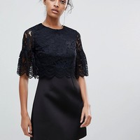ASOS Lace Crop Top Scallop Mini Dress at asos.com