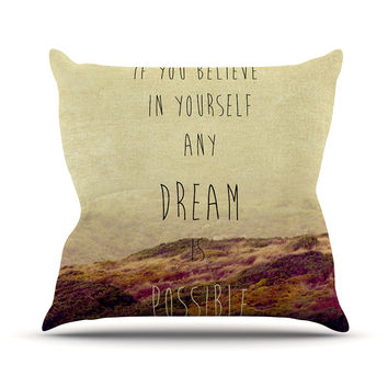 "Ingrid Beddoes ""Believe"" Desert Quote Outdoor Throw Pillow"