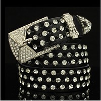 Fashionable women's rhinestone belt belt diamond drill wild belt Black