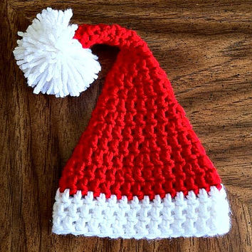 Red and White Crocheted Baby Santa Hat - Made to Order