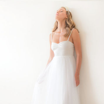 Ivory maxi tulle ballerina dress , Sweetheart dress