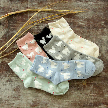 Novelty Women Alpaca Tube Socks Japanese Cute Women's Animal Cartoon Sock Winter Autumn Pure Cotton Socks