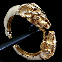 Vintage Donald Stannard Double Rams Head Hinged Cuff