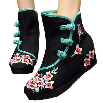Flowers Vintage Beijing Cloth Shoes Embroidered Boots   black  35