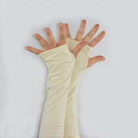 Arm Warmers in Cream - Organic Cotton Soy - Long Fingerless Gloves