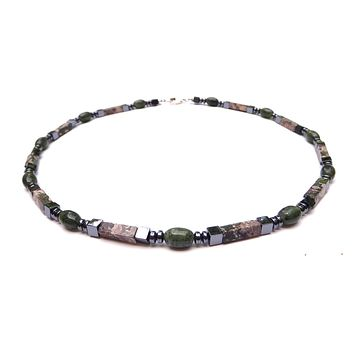 Jade Mens Chakra Necklace, Mens Gemstone Beaded Necklaces, Rhyolite Jasper Crystal Healing Jewelry - Jewels for Gents