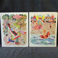 Vintage Picture Puzzles – Two (2) Playskool Tray Puzzles - Playground and Beach