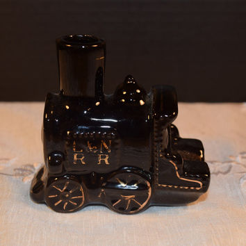 Enesco L & N Railroad Train Caboose Vintage Enesco Black Caboose Porcelain Figurine Made in Japan Child's Room Decor Train Collectible
