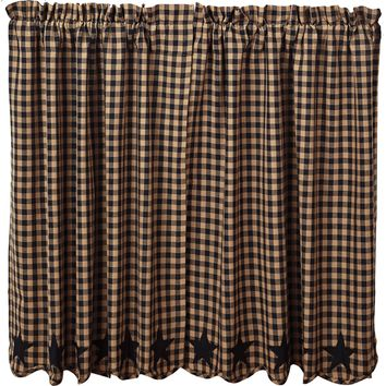Black Star Tier Curtains 36""