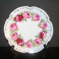 Vintage  Marseille Hand Painted Rose Plate