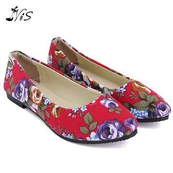 Women Loafers Fashion Spring Autumn Print Flower Flat Shoe Woman Ladies Slip-On Antiskid Flats Boats Canvas Pointed Toe Shoes